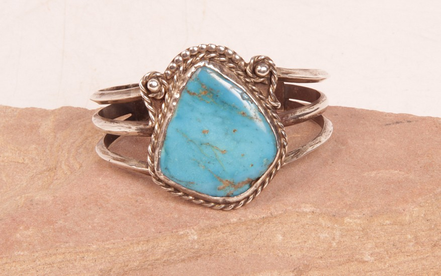 "07 - Jewelry-Old, Navajo Cuff Bracelet: Single Turquoise Setting, Three Rods, Twistwire, Beading (5"" + 1.5"" gap) Sterling Silver and Turquoise"