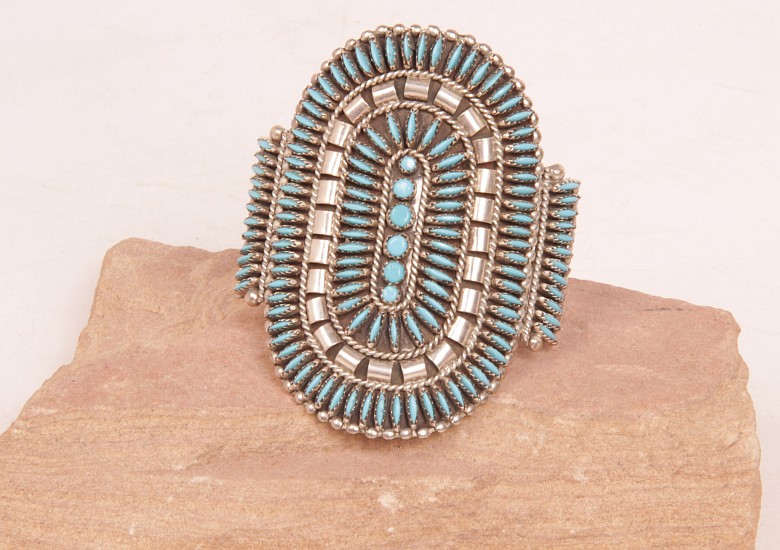 "07 - Jewelry-Old, Zuni Needlepoint Cuff by N. Harry: Turquoise (5"" + 1.25"" gap) Sterling Silver and Turquoise"