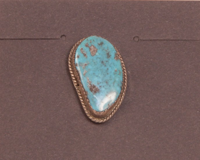 "07 - Jewelry-Old, Navajo Tie Tack: High-Grade Turquoise, Twistwire (1"") c. 1970, Sterling Silver and Turquoise"