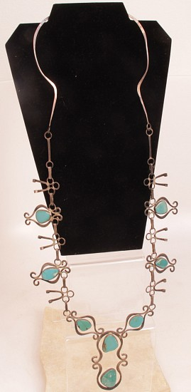 "07 - Jewelry-Old, Navajo Necklace: Flat Link Form, Long, Turquoise on Sterling Silver (35"") c. 1960, Sterling Silver and Turquoise"