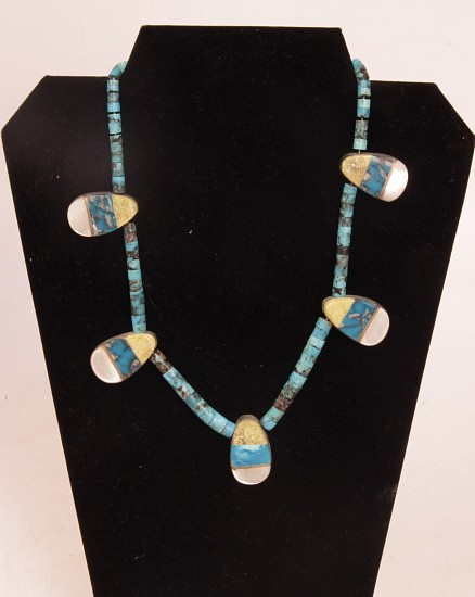 "07 - Jewelry-Old, Santo Domingo Necklace: Five Paddles, Turquoise, Multistone Inlay (18"") c. 1950-1960"