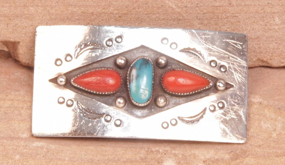 "07 - Jewelry-Old, Navajo Pin: Turquoise and Coral on Sterling Silver (1.25"" x 2.5"") c. 1970-1980, Sterling Silver, Turquoise and Coral"