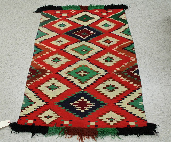 "01 - Navajo Textiles, Navajo Germantown: Child's Blanket, Excellent Condition (30"" x 48"") c. 1880, Handspun wool"