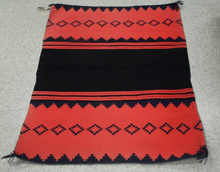"01 - Navajo Textiles, Navajo Germantown: Panel Dress Half (35"" x 48"") c. 1880, Handspun wool"
