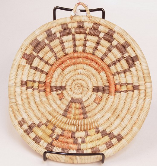 "02 - Indian Baskets, Hopi Basketry: Mid-20th Century Coiled Plaque, Shalako Maiden Motif (9""d) Mid-20th century"