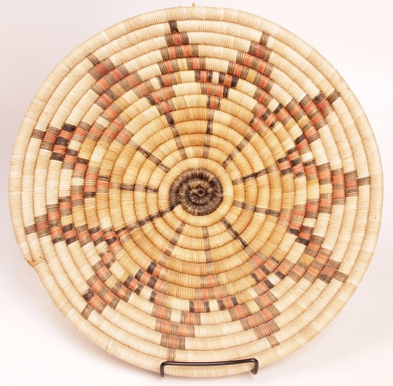 "02 - Indian Baskets, Hopi Basketry: Mid-20th Century Coiled Plaque, Star/Floral Motif (14.25"" d) Mid-20th century"