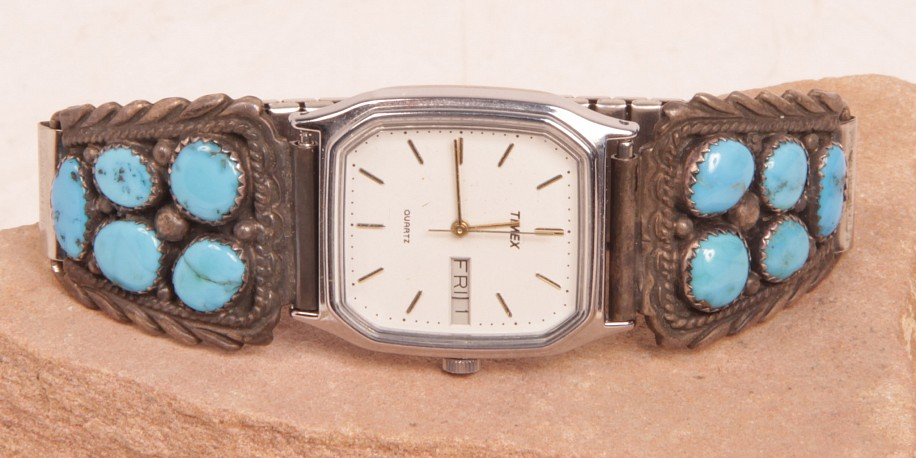 "08 - Jewelry-New, Navajo Watch Bracelet: Turquoise (6 1/8"") c. 1980"