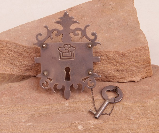 "07 - Jewelry-Old, Antique Taxco Pin: Los Castillo Escutcheon Lock and Key (2.5"" ht x 2"" w) c. 1945, Sterling silver"