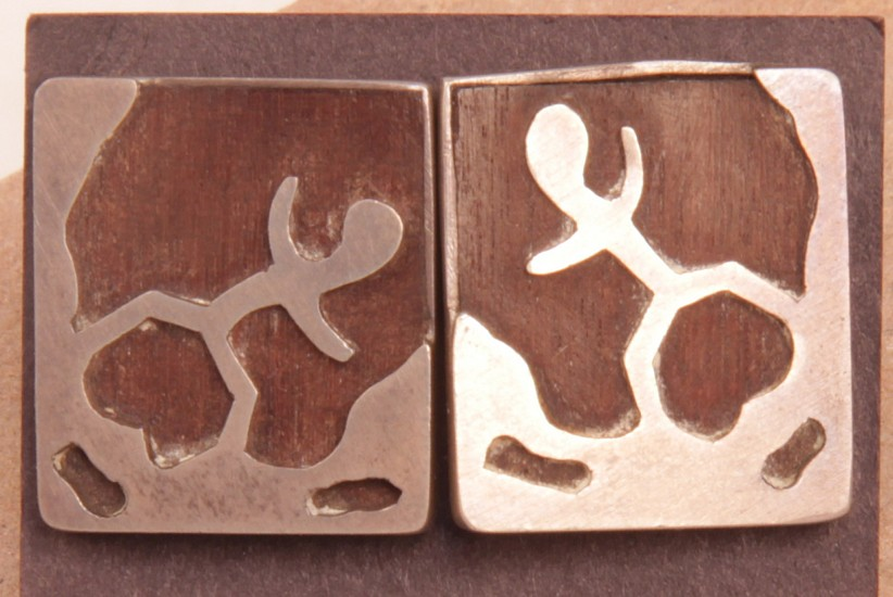 "07 - Jewelry-Old, Taxco Cufflinks: Rectangular Form, Silver Overlay (1"")"