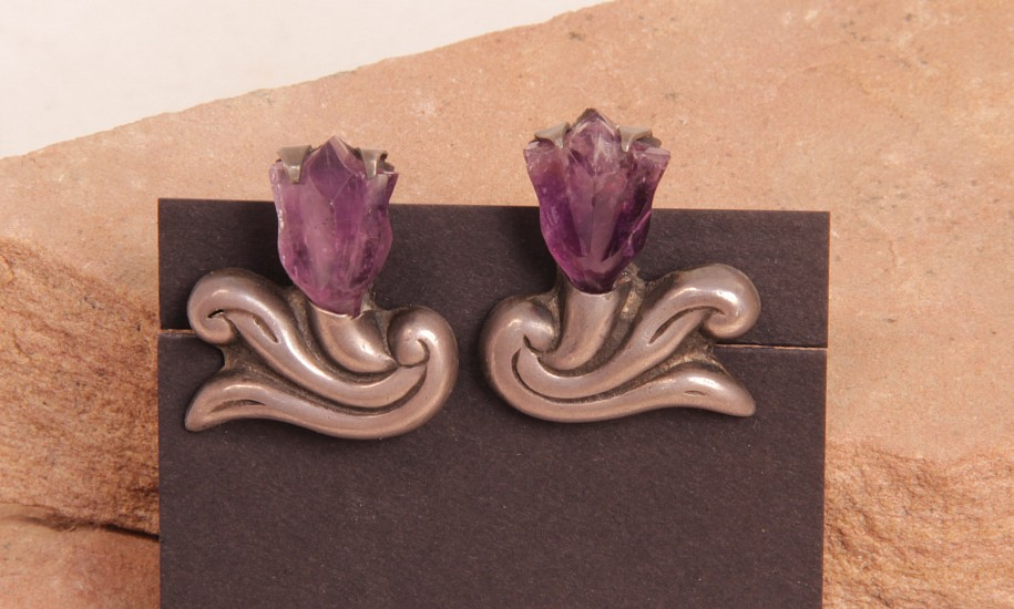 "07 - Jewelry-Old, Taxco Screwback Earrings by Frederick Davis (1880-1961): Amethyst on Sterling Silver, Floral Motif (1"") c. 1940s"