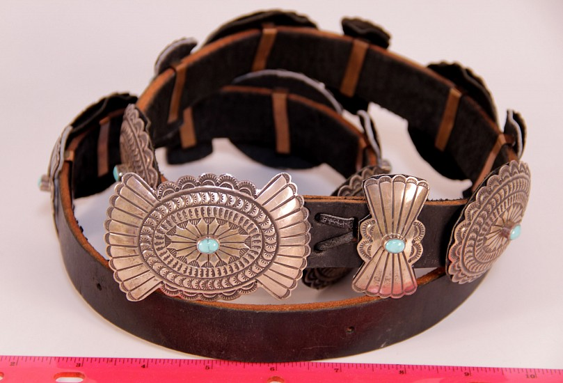 "08 - Jewelry-New, Navajo Concha Belt, Hallmarked ""LG"": Single Turquoise Settings (3.25"" x 2"" and 2.5"" x 2"" conchas) c. 1980, Sterling Silver and Turquoise"