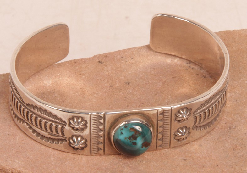 "08 - Jewelry-New, Navajo Cuff Bracelet by Eddison Sandy Smith: Round Turquoise Setting, Stampings on Sterling Silver (5.75"" + 1"" gap) c. 1990, Sterling Silver and Turquoise"