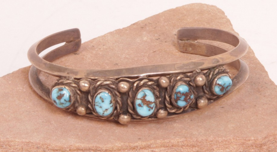 "07 - Jewelry-Old, Navajo Cuff Bracelet: Five Turquoise Settings with Deep Matrix, Two Sterling Silver Rods, Beadwork, Twistwire (5.25"" + 1.25"" gap) c. 1970, Sterling Silver and Turquoise"