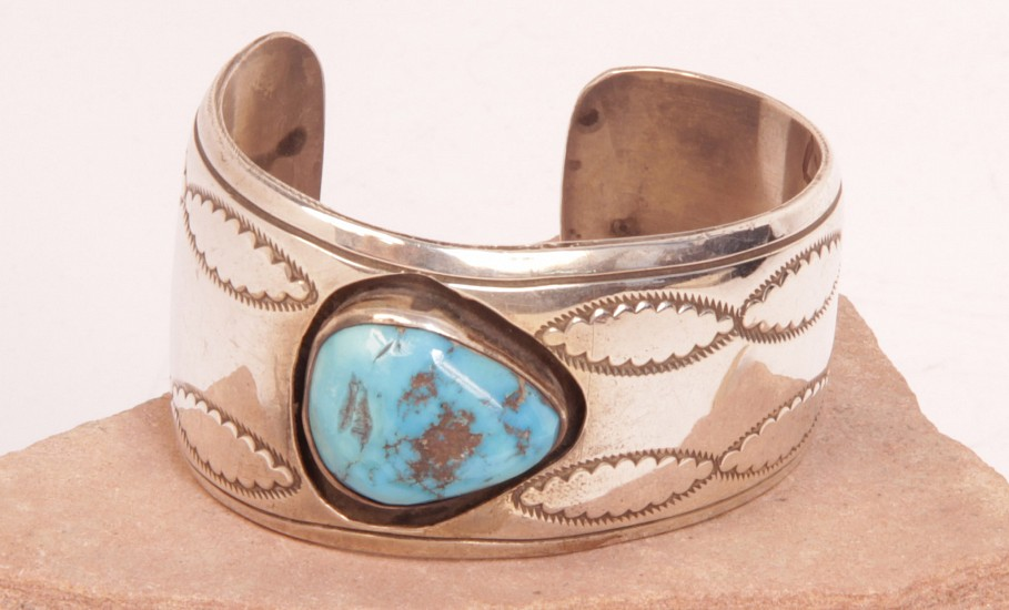 "08 - Jewelry-New, Navajo Cuff Bracelet by E. King: Shadowbox with Turquoise Setting, Treated, on Sterling Silver, Stampings, Tapered End (5.5"" + 1"" gap) c. 1980, Sterling Silver and Turquoise"