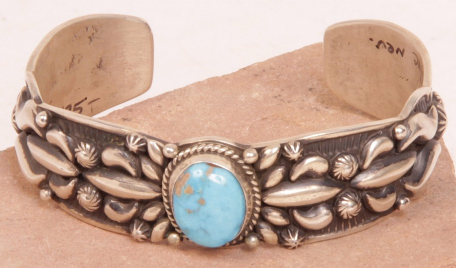 "08 - Jewelry-New, Navajo Cuff Bracelet by Darryl Becenti: Valley Blue Turquoise with Repousse on Ingot Silver (5 3/4"" + 1 1/8"" gap) 2014, Sterling Silver and Turquoise"
