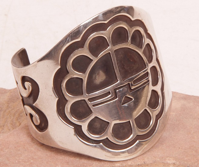08 - Jewelry-New, Hopi Cuff Bracelet: Silver Overlay Sunface Sterling silver