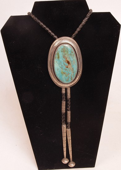"08 - Jewelry-New, Navajo Bolo Tie by Gibson Nez: Single Turquoise Setting, Oval Cut (3.5"" x 2.5"") c. 1990-2000, Sterling Silver and Turquoise"