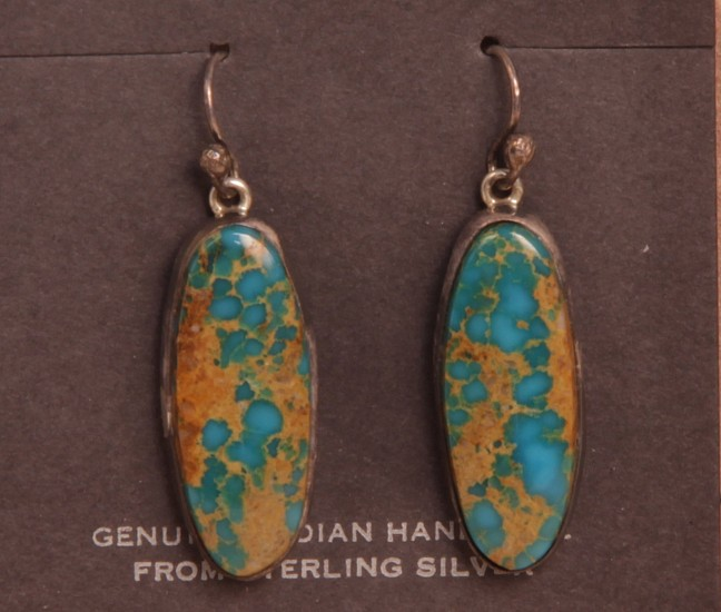 "08 - Jewelry-New, Navajo Hook Earrings: High-Grade Royston Turquoise on Sterling Silver (1.25"" x 0.5"") Contemporary, Sterling Silver and Turquoise"
