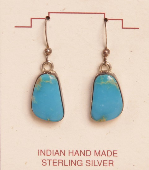 "08 - Jewelry-New, Hook Earrings: Turquoise Settings (0.75"" x 0.5"") Contemporary, Sterling Silver and Turquoise"
