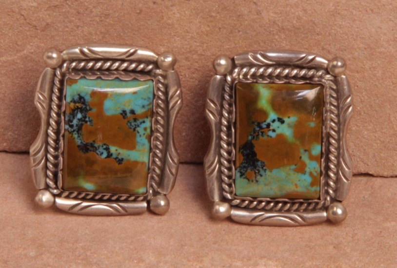 "08 - Jewelry-New, Clip Earrings, Hallmarked ""DV"": Royston Turquoise, Rectangular Cut, on Sterling Silver, Twistwire (1"" x 0.75"") Contemporary, Sterling Silver and Turquoise"