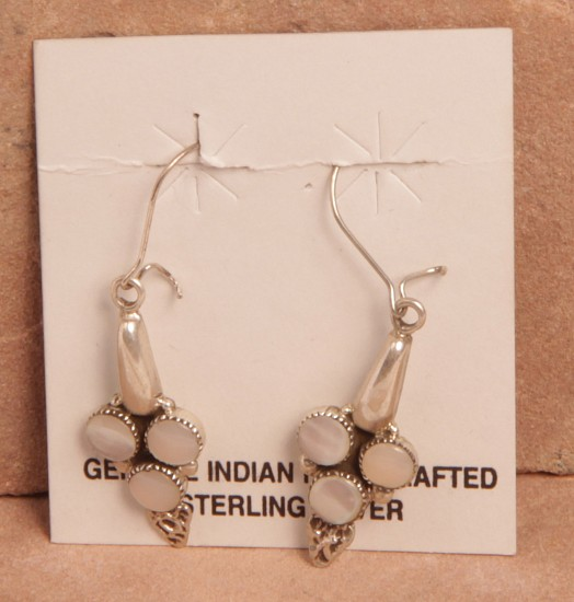 "08 - Jewelry-New, Clasping Hook Earrings by Beverly Weebothee: Mother of Pearl Settings (1"") Contemporary"