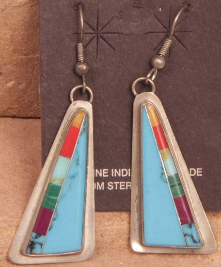 "08 - Jewelry-New, Hook Earrings, Hallmarked ""DG"": Multistone Inlay, Triangular Form (1.5"" x 0.75"") Contemporary, Sterling silver with inlaid stones"