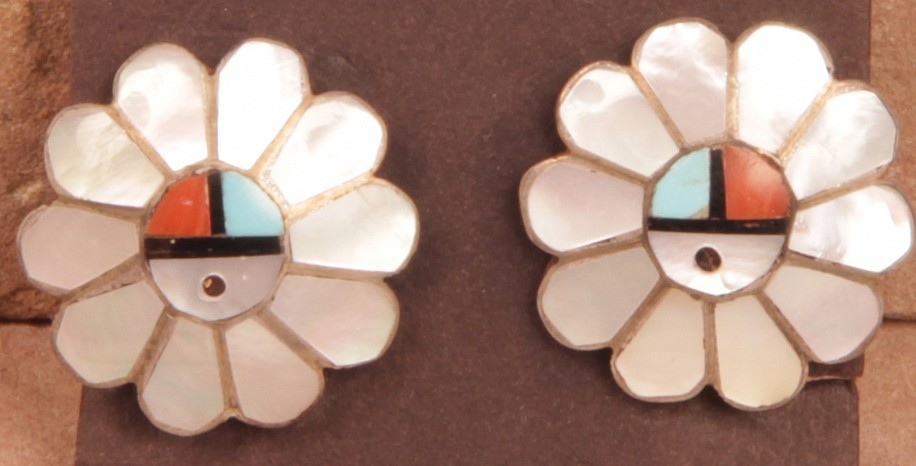 "08 - Jewelry-New, Zuni Clip Earrings: Sunface in Flower (1"") Contemporary, Sterling silver with inlaid stones"