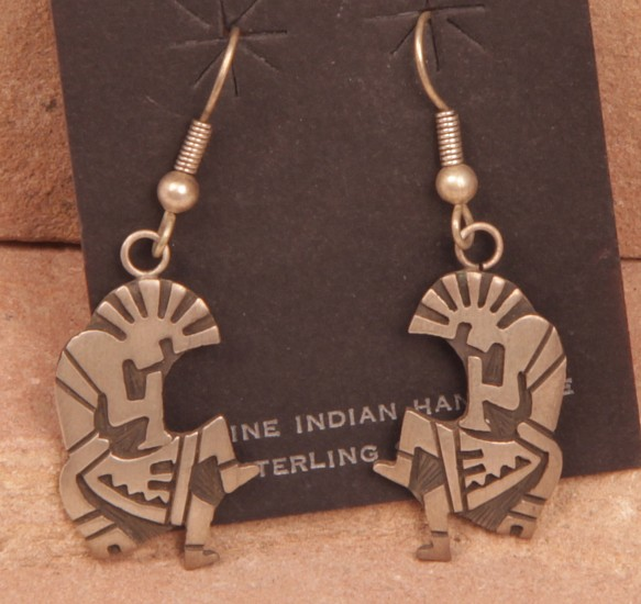 "08 - Jewelry-New, Hook Earrings: Kokopelli, Sterling Silver Overlay (1"" x 0.75"") Contemporary, Sterling silver"