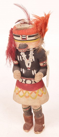 "05 - Kachinas and Dolls, Antique Hopi Kachina: Navajo Dancer (8"") c. 1940-1950, Hand Carved and Painted Cottonwood Root"