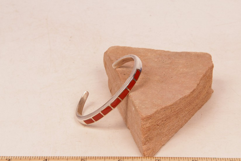 "08 - Jewelry-New, Navajo Coral Inlay Bracelet 6"" wrist size c.1950-70"
