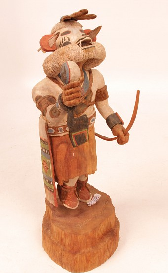 "05 - Kachinas and Dolls, 13"" ht Hopi Kachina: White Bear by Alvin Navasie (13"") Hand Carved and Painted Cottonwood Root"
