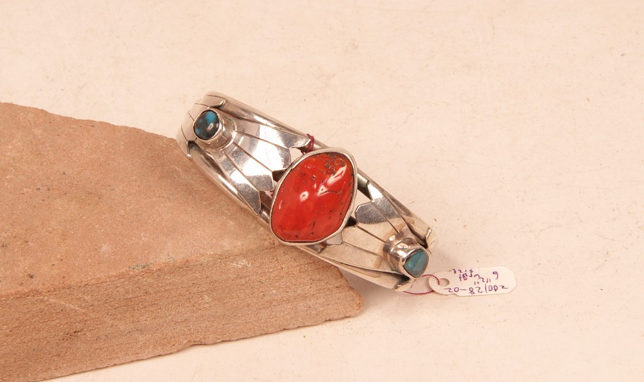 "07 - Jewelry-Old, Navajo Sterling Silver, Bisbee Turquoise & Large Mediterranean Ox Blood Coral Bracelet 5 1/4 + 1 1/4"" gap = 6 1/2"" wrist size c.1960s"