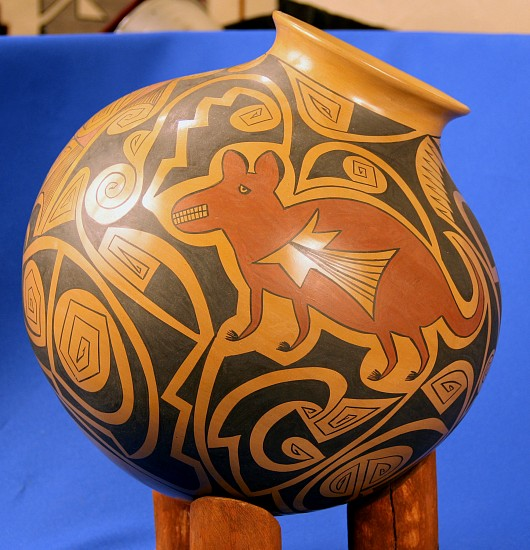 "03 - Pueblo Pottery, Large Mata Ortiz Polychrome Olla /w Display Stand by Gloria Hernandez 14"" x 14"""